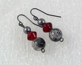 Scarlet & Gray Earrings: Beaded Earrings, Nickle-Free Earwires, Fashion Jewelry, Handmade in the USA, Ready to Ship