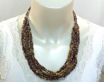 Copper Ladder Yarn Necklace, Crocheted Fiber Necklace, Brown Ribbon Necklace, Fiber Jewelry, Vegan Jewelry, Gifts for Her, Ready to Ship