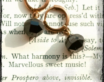 Small antique bronze brass lever arch hoop earrings with upcycled antique Victorian French Jet buttons, mourning buttons, repurposed.