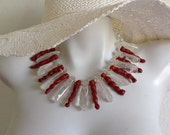 Designer Bib Necklace, Chunky Statement Necklace, Clear Quartz Crystal Icicles, Sponge Coral Spikes