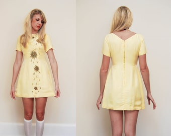 Vintage 1960s Yellow Silk Beaded 'Falling Petal' Mini Dress / Short Sleeve 60s MOD Dress