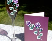Hand Painted Purple Champagne Glass and Matching Card Gift Set, February Birthday Gift, Mothers Day Gift, Thank You Gift