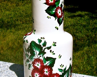 White Vase Hand Painted With Red and White Flowers, Housewarming Gift, Wedding Shower Gift, Home decor, Gifts For Her, Mothers Day Gift