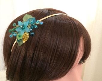 Flower girl tiara headband, gold flower girl headband, flower girl blue and green headpiece, flower girl hair accessories, flower headband
