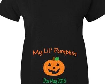 Pumpkin Halloween Maternity Shirts, My Lil Pumpkin Maternity Shirts for Halloween In Black