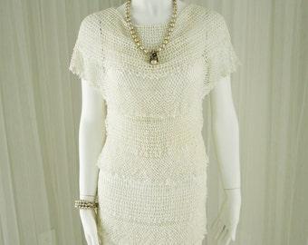 Gorgeous Hand Crocheted White Dress from Shanghai