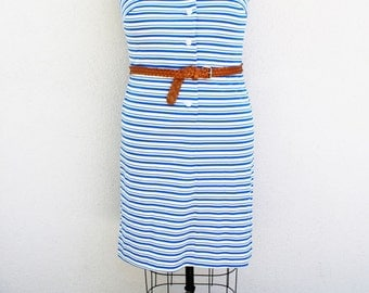 Plus Size - Vintage Blue & White Stripe Sleeveless Shirt Dress (Size 18/20)