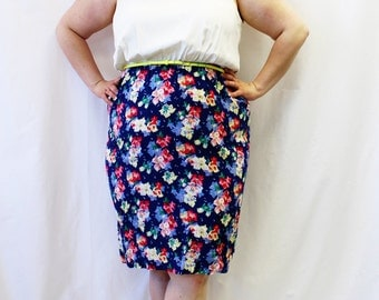 Plus Size - Vintage Floral Color Block Sheath Tank Dress (Size 20W)