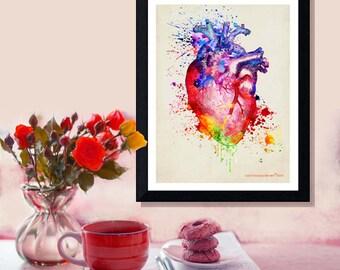 "Fine Art Print - ""Watercolor Heart "" 8.5"" x 11"",Anatomy Medical print, Registered Nurse Gift, Nurse Graduation gift, Watercolor Splatter art"