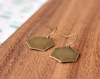 minimal honeycomb hexagon earrings - antique bronze