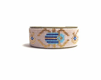 Beadloom Scarab bracelet - Tribal bead loom bracelet, friendship bracelet, beadloom bracelet, scarab jewelry, beetle jewelry