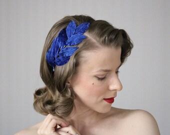 """Royal Blue Hair Accessory, Leaf Headband, Blue Velvet Headpiece, 1950s Fascinator, Royal Blue Hair Band, Vintage Hairpiece - """"Cobalt Canopy"""""""