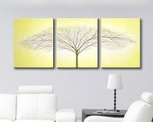 "Canvas Art Wall Decor Tree of Life Wall Art Painting Home Decor Wall Hanging Modern Art Original Painting Yellow Art 48""x20"" HAND PAINTED"