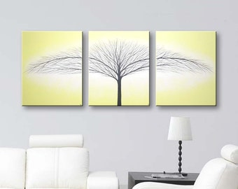 Canvas Paintings Yellow Wall Art 3 Piece Wall Decor Tree of Life Painting Modern Home Decor ideas Original Light Yellow Paintings 48x20