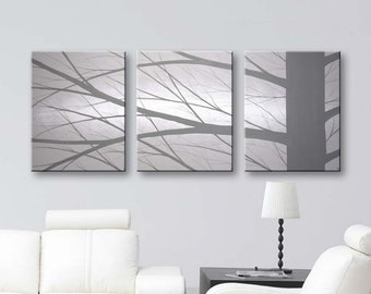 """SALE Canvas Art Large Wall Art Home Decor Tree Paintings Wall Decor Home & Living Original Painting Grey Gray Black and White Art 48""""x20"""""""