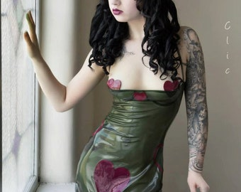 Latex Half Cup Ruched Front Heart Halterneck Dress - Violeteyes for Black Sheep Latex