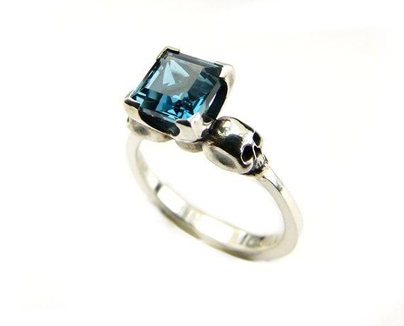 Skull Blue Goth Sterling Wedding Ring Square Blue Topaz Skull Ring Psychobilly Engagement Blue Gemstone Ring Memento Mori Gothabilly