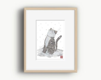 Cat Art, Winter Art, Cat Print, Whimsical, Cat Gifts, Cat illustration, Gray Cat Print
