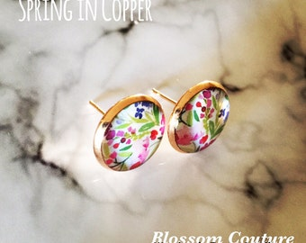 Watercolor Floral Stud Copper Earrings