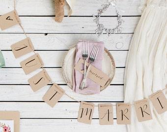 PRE ORDER| Kraft Just Married Wedding Banner, Getaway car banner, Just Married, Just Married Banner, Just Married Sign, Just Married Bunting