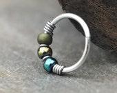Dragonfly, Blue & Green Beaded Nose Ring Hoop, One Hoop, Cartilage Hoop Earring, Sterling Silver, Titanium or Niobium Hoop, Green Earring