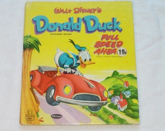 "Vintage Whitman Tell-A-Tale Book: ""Walt Disney's Donald Duck Full Speed Ahead"" Adapted by Milt Banta and Don MacLaughlin"