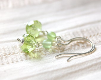 Birch Earrings - Light Green Faceted Glass Beaded Dangle Earrings, Sterling Silver Jewellery Handmade by Ikuri immortelle, FREE SHIPPING