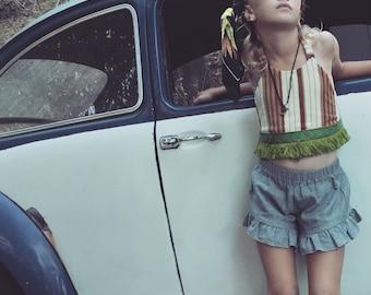 Sale!!!   Crop Top/Boho Top/Hippie/Dad's ole striped Shirt/brown vintage