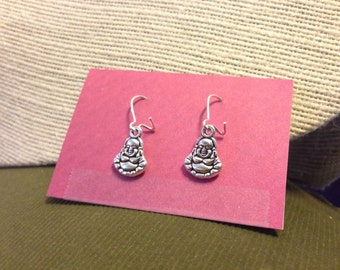 Silver Buddha Earrings