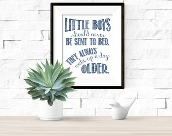 Little Boys Should Never Be Sent to Bed Peter Pan Quote Nursery Printable Artwork - 8x10 Digital Download
