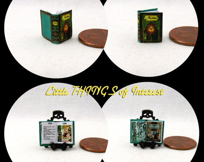 1:24 Scale Book ALADDIN Miniature Book Dollhouse Illustrated Book 1/2 or Half Inch Scale One Thousand and One Nights The Magic Lamp