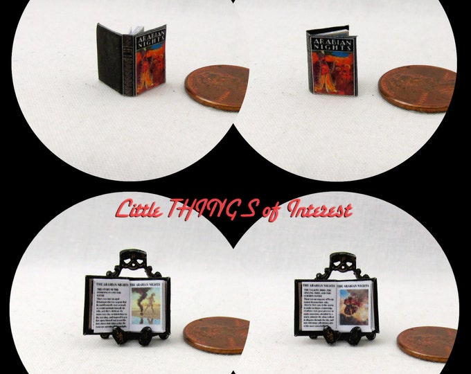 1:24 Scale Book ARABIAN NIGHTS Miniature Book Dollhouse Illustrated Book Half Inch Scale