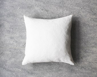 White Linen pillow cover, Washed linen, Eco friendly home, Decorative Pillows