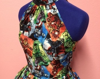 Vintage Style Water color Avengers Marvel Comics Dress