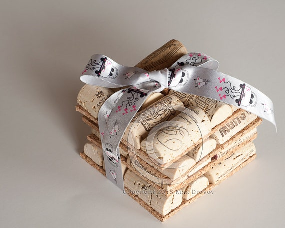 Wine cork coasters set of 4 wine cork crafts engagement gift for Cork coasters for crafts