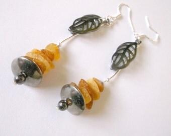 Amber dangle baltic amber dangle amber earrings amber leaf dangle amber cips dangle amber leaf earrings sterling silver amber earrings