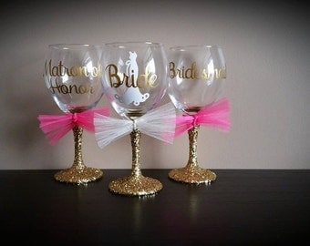bridesmaid glitter stemmed wine glasses bride and groom glasses ...