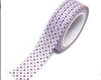 Washi Tape - 1 pc - Purple Lavender Polka Dots - Paper Deco Tape