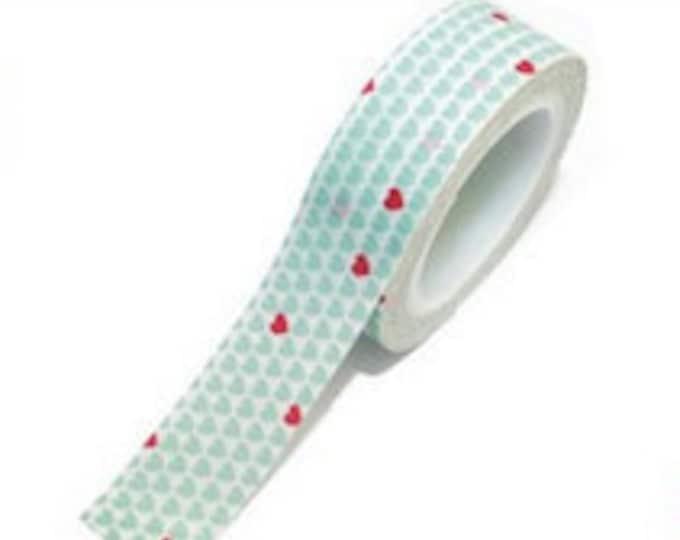 SALE Washi Tape - 1 pc - Blue White Polka Dot Pink Hearts - Paper Deco Tape
