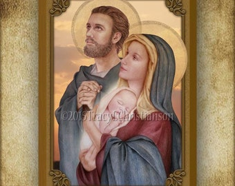 The Holy Family (C) Wood Plaque and Holy Card GIFT SET #3018