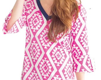 Monogrammed Print Cotton Tunic Preppy Beach Coverup
