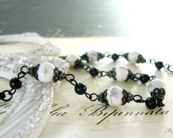 October Moon - Howlite Gemstone and Swarovski Pearl Bracelet - Gothic Jewelry Gothic Lolita Jewelry Black and White Wedding October Wedding