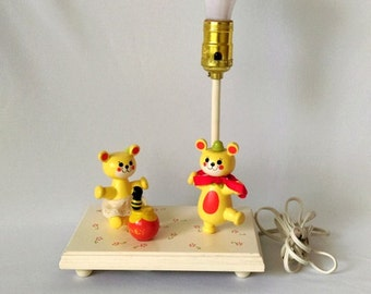 Vintage Lamp, Honey Bear Nursery Lamp And Music Box, Wooden Lamp For Nursery  Decor