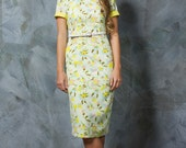 Olive. Classy Midi Style Dress. Yellow Multi Colour Print. Fresh Preppy Resort Design. Seaside Sophistication. Bright And Ladylike Lifestyle