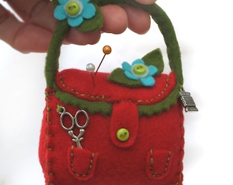 Sewing Notions Felt Pincushion, Red Handbag Pin Cushion with Turquoise and Green Felt Flowers