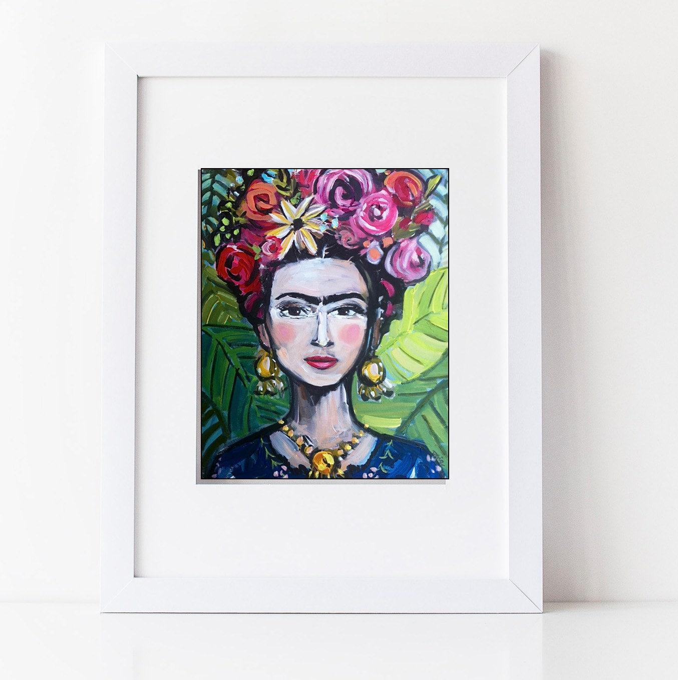 frida kahlo print roses pretty portrait