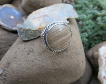 Petrified wood, woodland ring, OOAK, silver ring, size 7 3/4, gemstone, boho jewelry, statement ring, zen, wood, metalwork, stone, silver