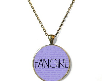 Fangirl Book Necklace, Quote Jewelry, Book Page Jewelry, Bookworm Necklace, Nerdy Book Jewelry, Book Page Necklace, Book Lover Jewelry
