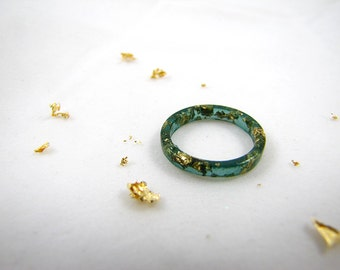 Pine Green Stacking Resin Rings with Gold Flakes