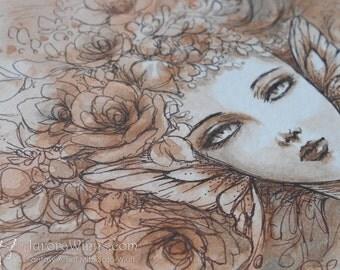 Original Art 9 x 6 Inches - Petals in the Wind - Evocative Fairy in Sepia - Mixed Media Fantasy Illustration - by Mitzi Sato-Wiuff